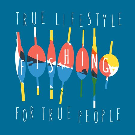 wet shirt: illustration of colorful flat design style signature true lifestyle fishing for true people as a template Illustration