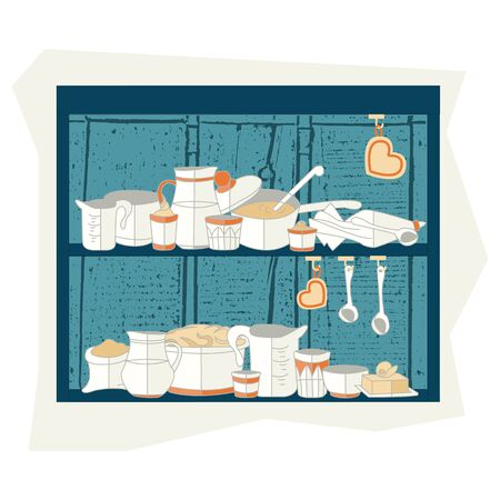 texturized: illustration of cooking set in flat design style