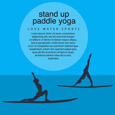 flat design style illustration of stand up paddle yoga template with stand up paddles, text and women silhouettes Ilustrace