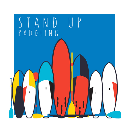 illustration of stand up paddle boards and paddles set in flat design style with signature and text Illustration