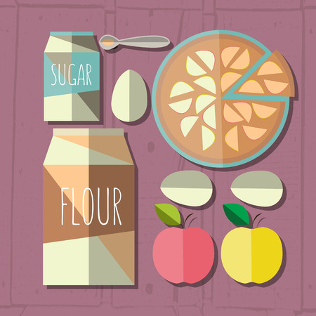 apple pie: colorful illustration of flat design style apple pie recipe with ingredients on textured wood background