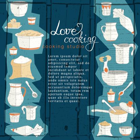 kitchen studio: business template with hand drawn kitchen utensils illustrations. Cooking studio, restaurant or cafe branding elements