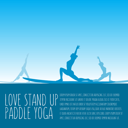 flat design style illustration of stand up paddle yoga template with stand up paddles, text and women silhouettes Vettoriali