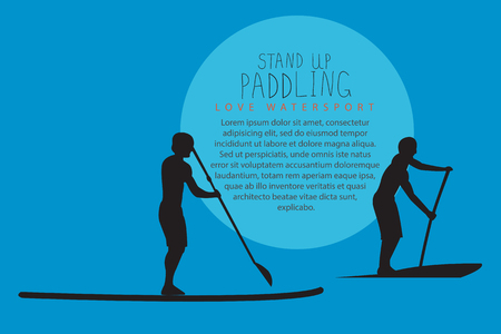 illustration of two men with stand up paddle boards and paddles on the colorful blue background with signature and text Illustration
