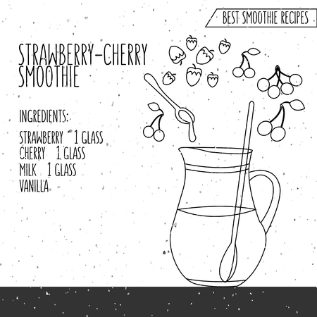 slush: illustration of strawberry cherry smoothie recipe hand drawn in flat linear design style on textured background Illustration