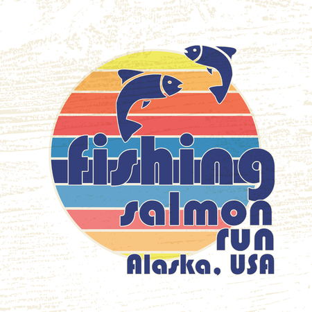 salmon run: illustration of colorful flat design style signature fishing salmon run Alaska, USA with salmon silhouettes on textured background as a template