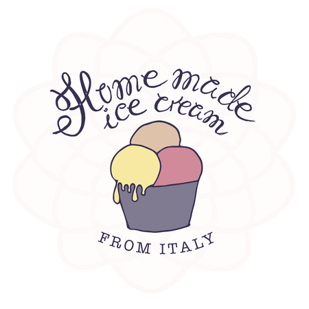 sketched: vector hand drawn sketched  illustration of hand-made ice cream with signature