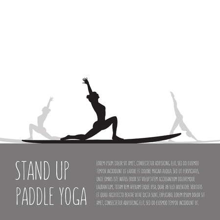 people nature: flat design style illustration of stand up paddle yoga template with stand up paddles, text and women silhouettes Illustration