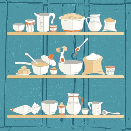 texturized: illustration of kitchen utensils on a textured background