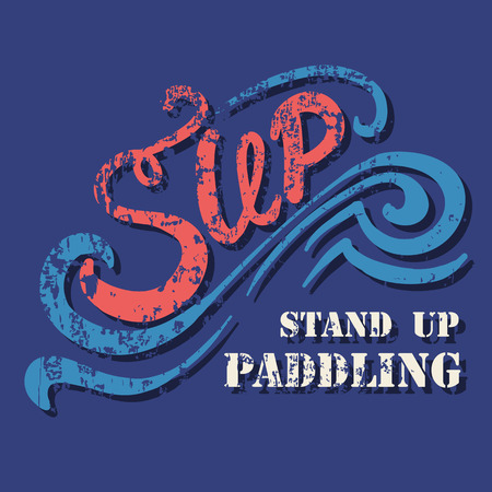 outdoor sport: flat design style hand drawn illustration of signature: Sup Stand Up Paddling on textured background