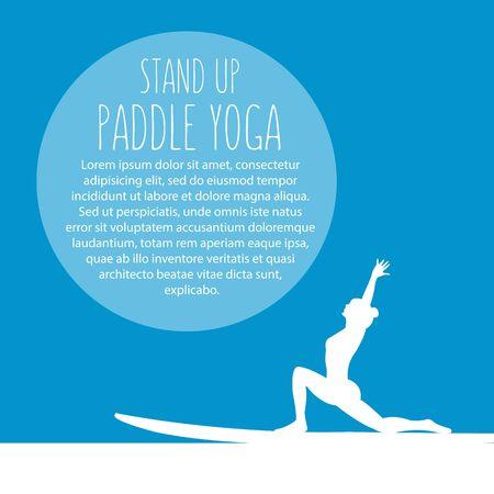 siluetas de mujeres: Ilustración estilo de diseño plano del pie plantilla de yoga con stand up paddle paletas, texto y mujeres siluetas Vectores