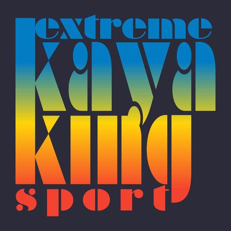 wet shirt: illustration with signature extreme kayaking sport  in flat design style on colorful background Illustration