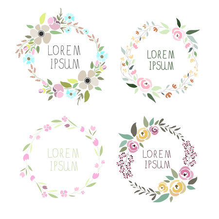 wreath set: illustration of a floral wreath set with signatures Illustration