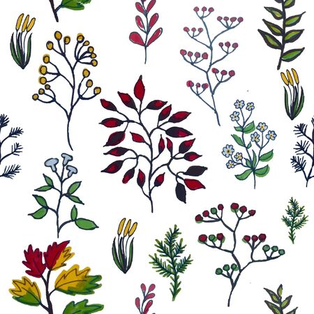 herbal background: illustration of colorful hand painted herbal seamless background Illustration