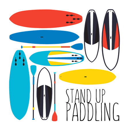 illustration of stand up paddle boards and paddles set in flat design style on textured background