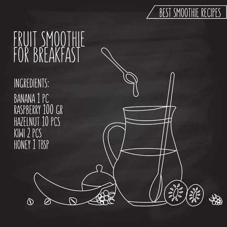 recipe background: illustration of fruit smoothie for breakfast recipe hand drawn in flat linear design style on textured blackboard background