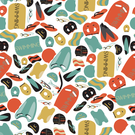 illustration of professional swimming equipment seamless pattern in flat design style