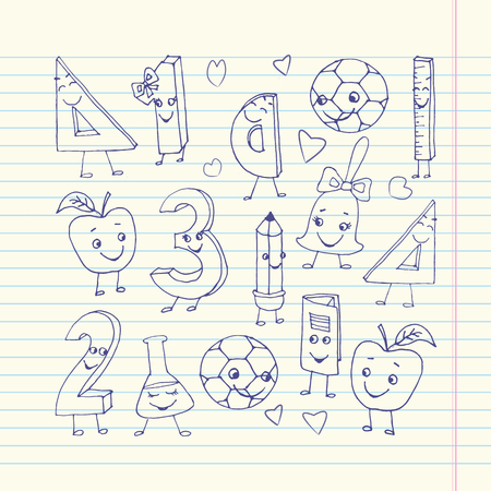 exercise book: Hand drawn cute school characters on a sheet of exercise book Illustration