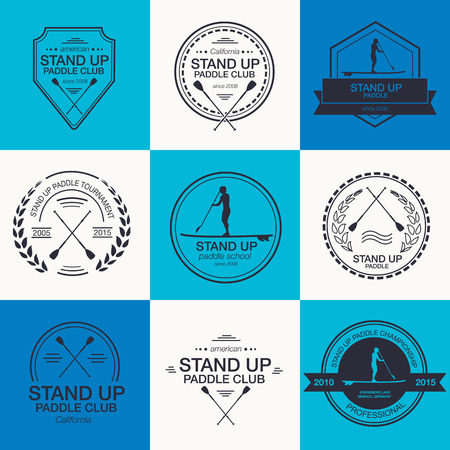 the athlete: Set of different templates for stand up paddling Illustration
