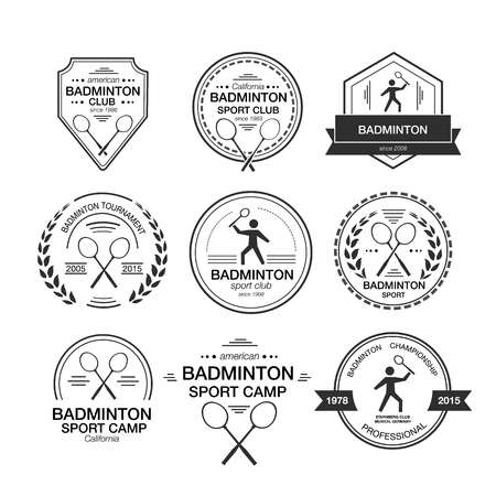 shuttlecock: Set of different templates for badminton. flat design style illustration of icons