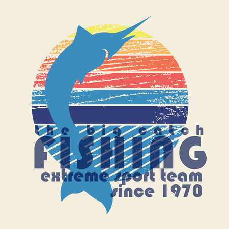 wet t shirt: illustration of colorful flat design style signature the big catch fishing extreme sport team since 1970 with swordfish silhouette on textured background