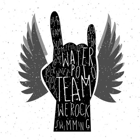 waterpolo: illustration of flat design style textured hand with signature water polo team we rock  on textured background