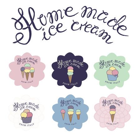 feitas à mão: ilustração tirada mão esboçada de seis feitos à mão sorvete