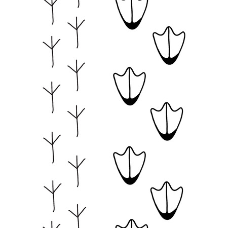 the illustration of birds footprints in black and white