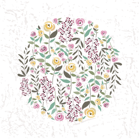 article: illustration of floral template in flat design style with roses and herbs in the round form for your design, article or print