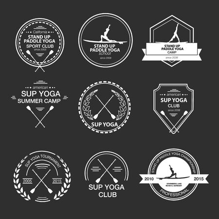 Set of different templates for stand up paddle yoga. athletic labels and badges