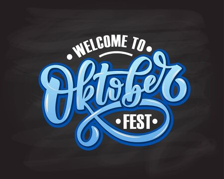 Oktoberfest logotype vector illustration. Festival celebration design on textured background. Happy Oktoberfest lettering typography.  Hand sketched october party icon. Beer festival decoration badge