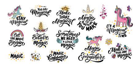 Hand sketched unicorn vector illustration with lettering typography quotes. Motivational quotes concept for children t-shirt print. Unicorn logotype, badge, icon.