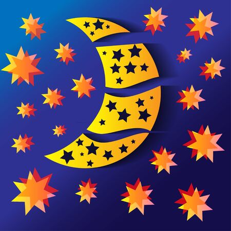 half moon: background with half moon and stars
