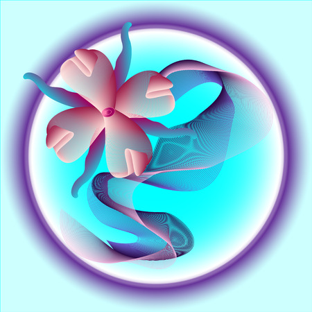 turquoise background with fantasy neon flower Vettoriali
