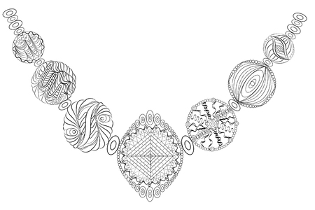 Decorative necklace.  isolated on white background.  sketch for adult antistress coloring page, T-shirt emblem, or tattoo with doodle, floral design elements.