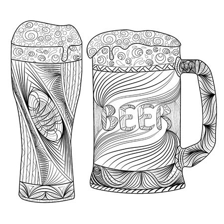 Oktoberfest set of beer.  illustrations