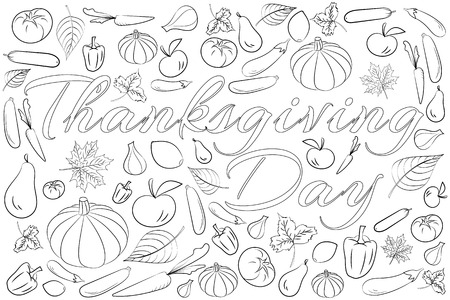 Stylized Background For Thanksgiving Day, Freehand Sketch For.. Royalty  Free Cliparts, Vectors, And Stock Illustration. Image 65092354.