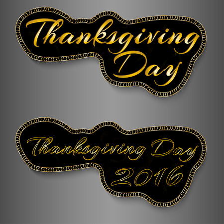 gobble: Set of Thanksgiving Vector Calligraphic Illustrations black and gold colour