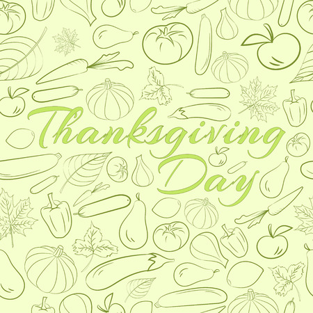 Autumn graphic seamless pattern with fruits and vegetables in green colour. Vector Thanksgiving day design Stock Illustratie