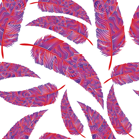 Seamless pattern with feathers. Abstract background with colored feathers. Pastel feathers on white background Illustration
