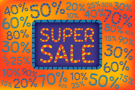 Super sale. Discount price off and sales design template. Shopping and low price symbols. 10,20,30,40,50,60,70,80,90 percent sale. Vector illustration. Illustration