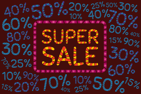 80 90: Super sale. Discount price off and sales design template. Shopping and low price symbols. 10,20,30,40,50,60,70,80,90 percent sale. Vector illustration. Illustration