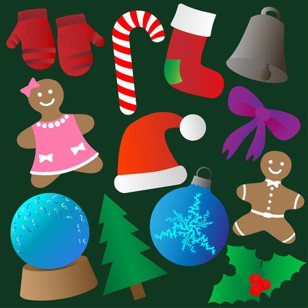 boll: Set of Christmas icons. Christmas background