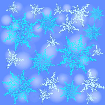 Winter background. Fallen defocused snowflakes. Christmas. Vector.