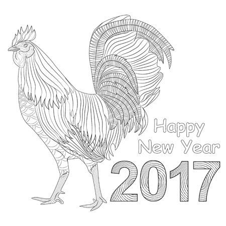 t shirt white: Rooster coloring book for adult, Chicken Chinese zodiac symbol of the new year. Vector illustration isolated on white. Design for t-shirt print, greeting card, calendar.