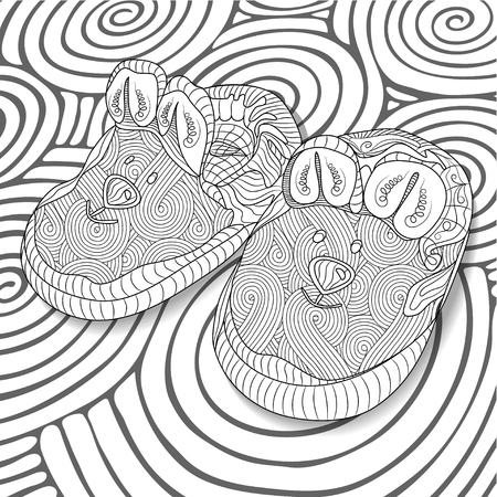 bootees: Doodle sketch of baby bootees in black and white zentangle design. Coloring book for adult and older children. Hand drawn vector illustration.