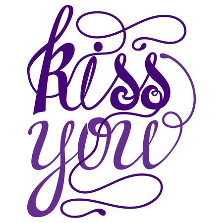 Happy valentines day Lettering, design elements for cards. Doodles curls. Vector illustration. Be my Valentine. Illustration