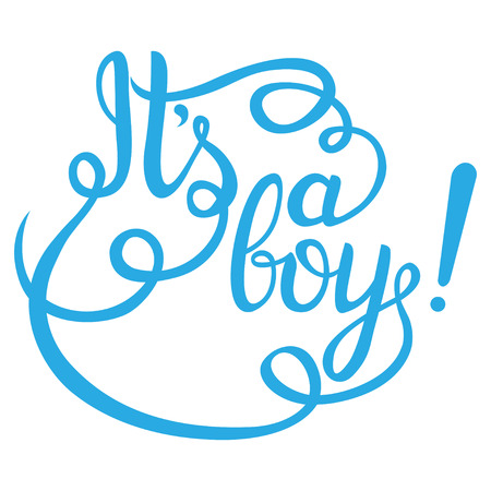 Its a boy lettering. Baby shower vector invitation