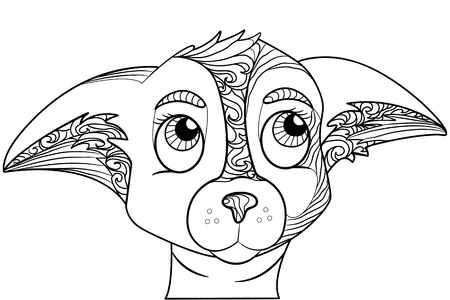 Zentangle stylized doodle ornate vector of chihuahua dog head. Zen art drawing. Animal ethnic tribal ornament suits as tattoo, logo template, decorative print, adult coloring book sketch Illustration