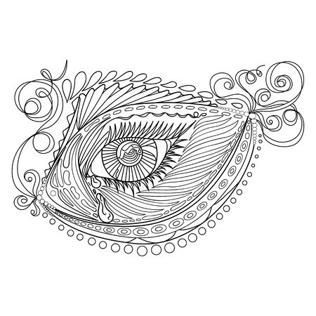 Zen tangle stylized abstract fish and eye, isolated on white background. Hand drawn sketch for adult antistress coloring page, T-shirt emblem, logo, tattoo with doodle, zen tangle, floral elements. Illustration
